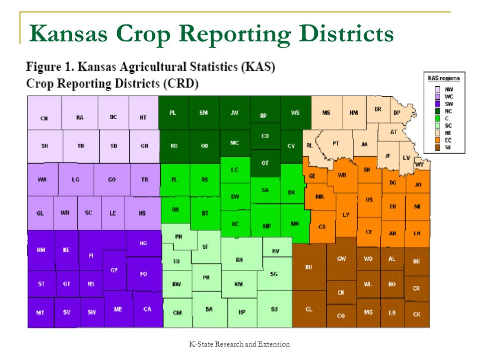 K-State Research and Extension Kansas Crop Reporting Districts