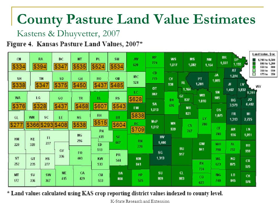 K-State Research and Extension County Pasture Land Value Estimates Kastens & Dhuyvetter, 2007 $543$607$458$437$328$376 $338$347$375$450$437$485 $334$394$347$535$524$534 $838 $709 $628 $277$366$293$408$538 $515 $604