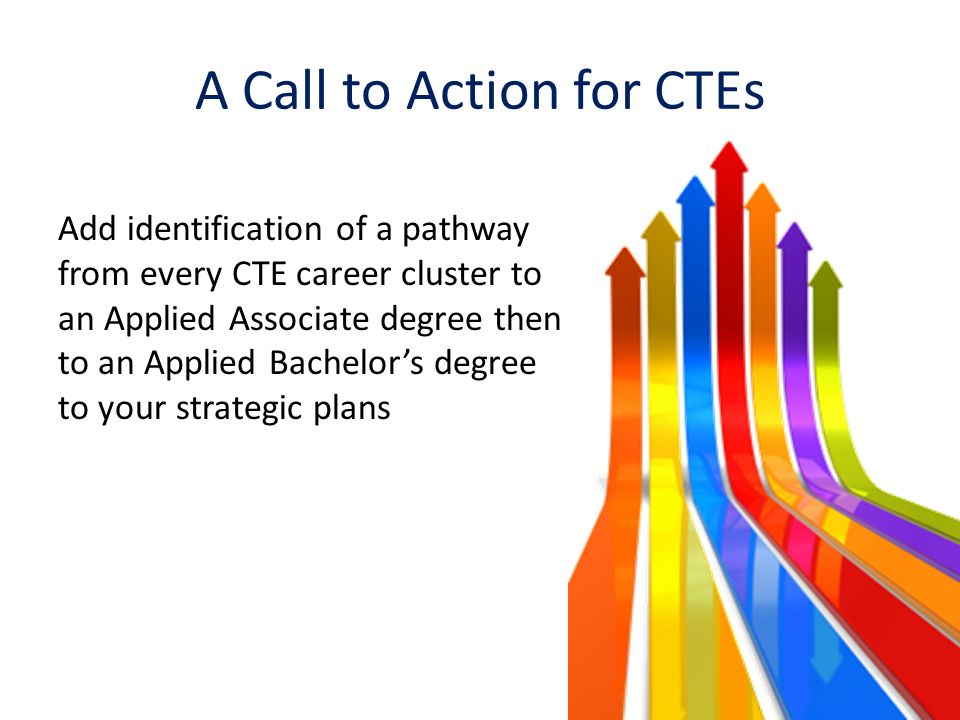 A Call to Action for CTEs Add identification of a pathway from every CTE career cluster to an Applied Associate degree then to an Applied Bachelors degree to your strategic plans