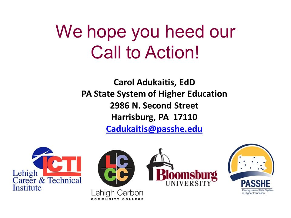 We hope you heed our Call to Action.