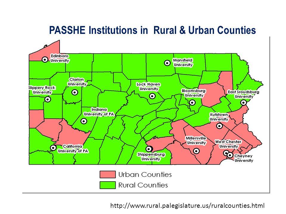 PASSHE Institutions in Rural & Urban Counties http://www.rural.palegislature.us/ruralcounties.html
