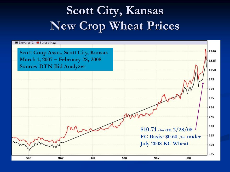 Scott City, Kansas New Crop Wheat Prices Scott Coop Assn., Scott City, Kansas March 1, 2007 – February 28, 2008 Source: DTN Bid Analyzer $10.71 /bu on 2/28/08 FC Basis: $0.60 /bu under July 2008 KC Wheat