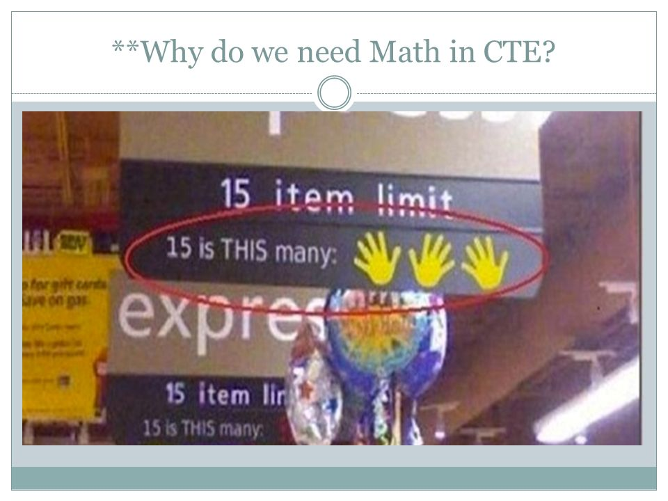 **Why do we need Math in CTE?
