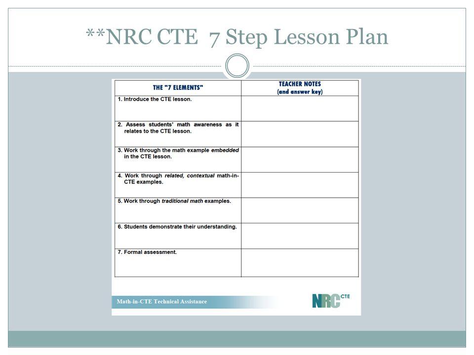 **NRC CTE 7 Step Lesson Plan
