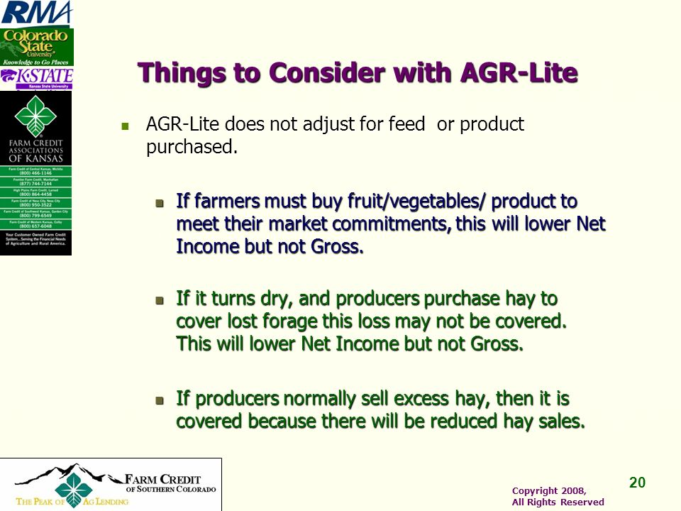 20 Copyright 2008, All Rights Reserved Things to Consider with AGR-Lite AGR-Lite does not adjust for feed or product purchased.