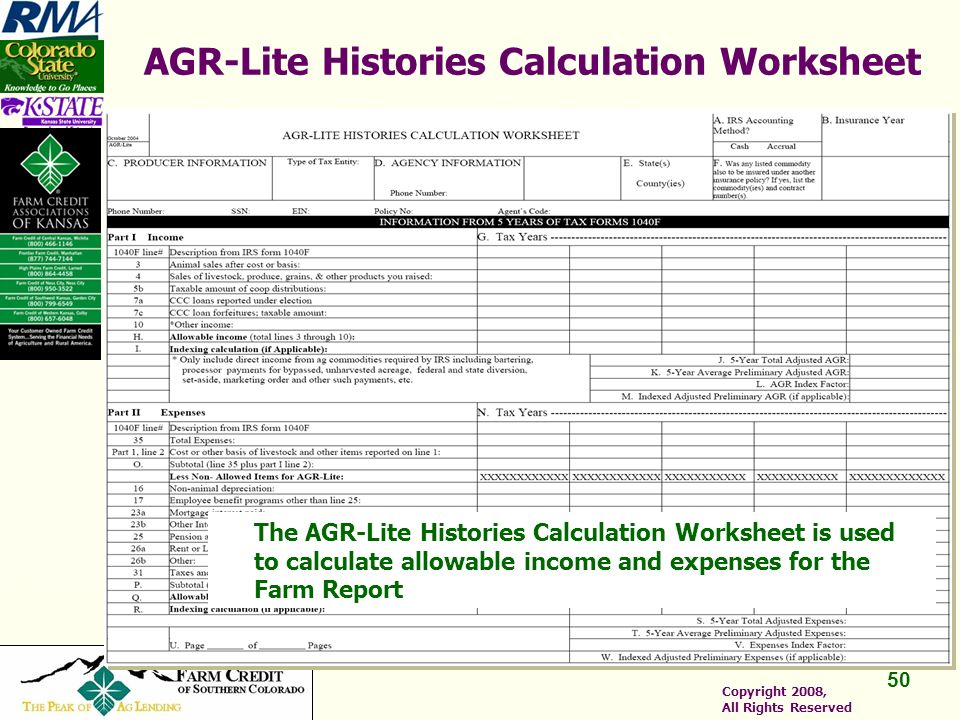 50 Copyright 2008, All Rights Reserved AGR-Lite Histories Calculation Worksheet The AGR-Lite Histories Calculation Worksheet is used to calculate allowable income and expenses for the Farm Report