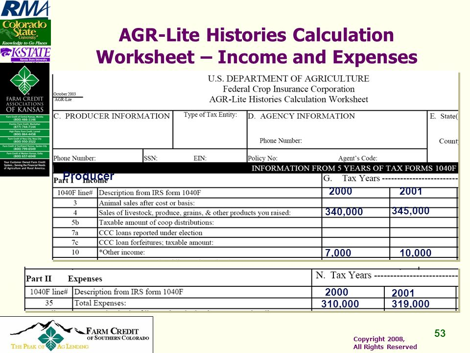 53 Copyright 2008, All Rights Reserved AGR-Lite Histories Calculation Worksheet – Income and Expenses Producer 20002001 340,000 345,000 7,00010,000 2000 2001 310,000319,000