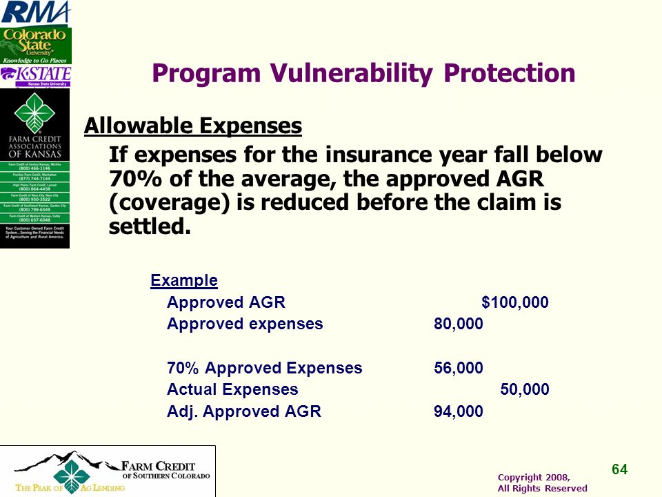 64 Copyright 2008, All Rights Reserved Program Vulnerability Protection Allowable Expenses If expenses for the insurance year fall below 70% of the average, the approved AGR (coverage) is reduced before the claim is settled.