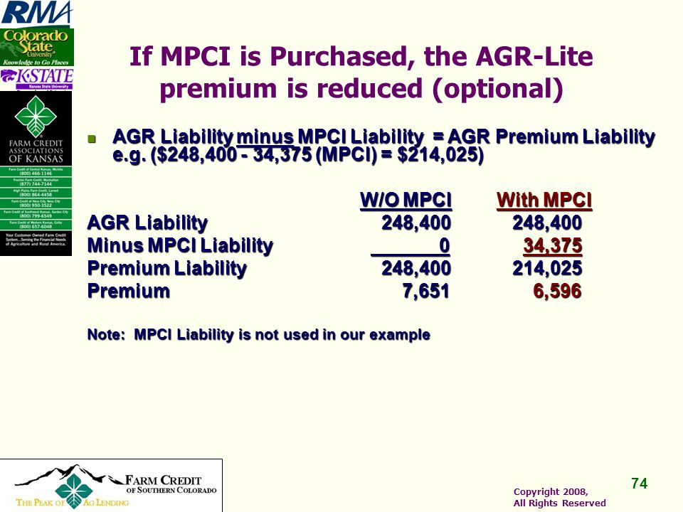 74 Copyright 2008, All Rights Reserved If MPCI is Purchased, the AGR-Lite premium is reduced (optional) AGR Liability minus MPCI Liability = AGR Premium Liability e.g.