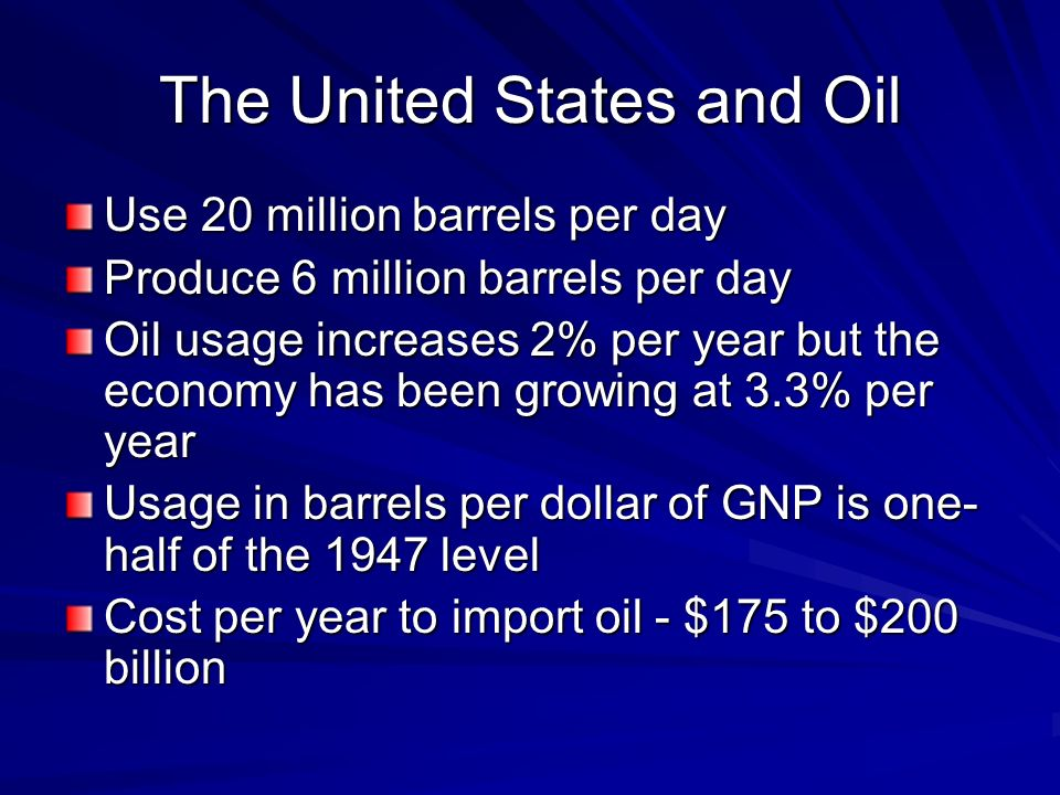 The United States and Oil Use 20 million barrels per day Produce 6 million barrels per day Oil usage increases 2% per year but the economy has been growing at 3.3% per year Usage in barrels per dollar of GNP is one- half of the 1947 level Cost per year to import oil - $175 to $200 billion