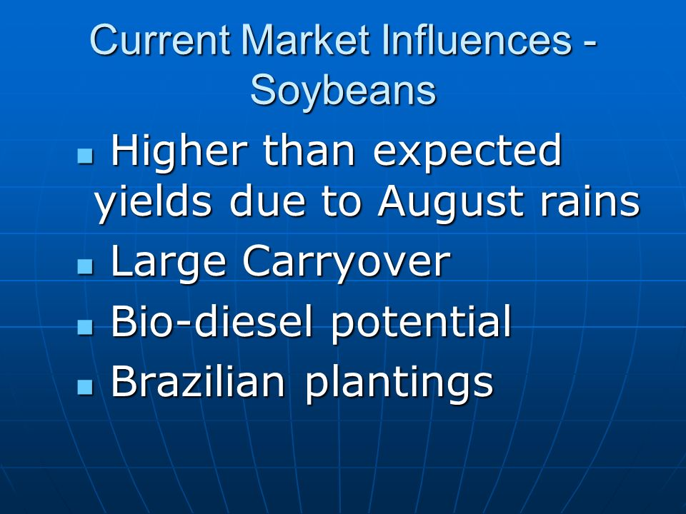 Current Market Influences - Soybeans Higher than expected yields due to August rains Higher than expected yields due to August rains Large Carryover Large Carryover Bio-diesel potential Bio-diesel potential Brazilian plantings Brazilian plantings