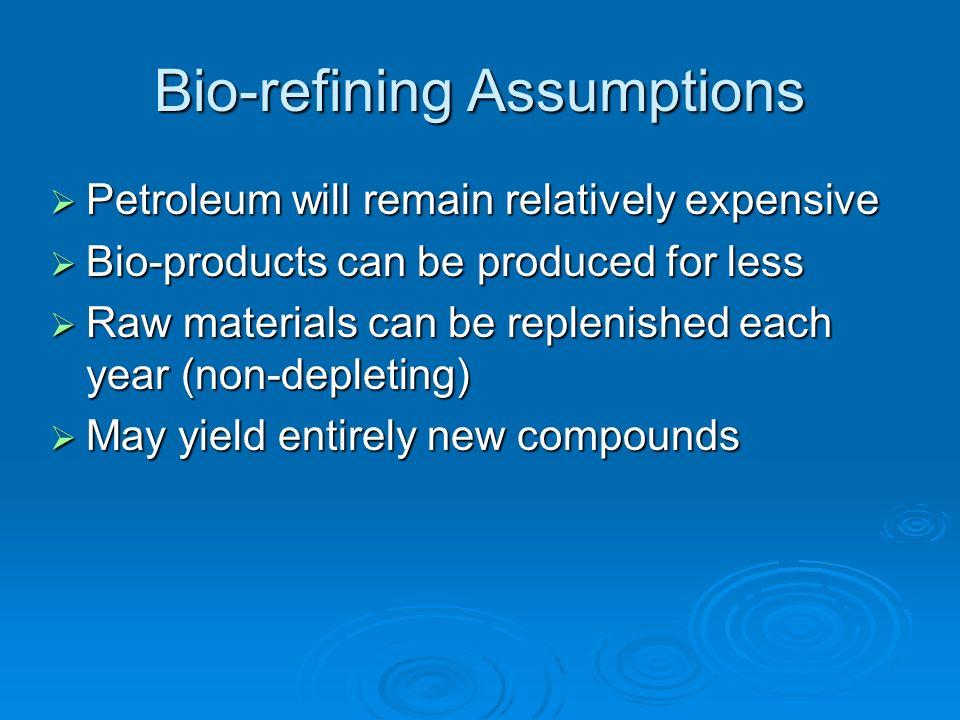 Bio-refining Assumptions Petroleum will remain relatively expensive Petroleum will remain relatively expensive Bio-products can be produced for less B