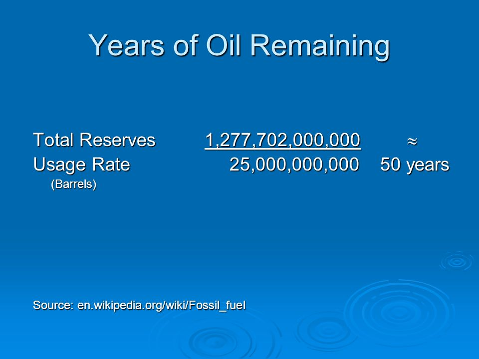 Years of Oil Remaining Total Reserves 1,277,702,000,000 Total Reserves 1,277,702,000,000 Usage Rate 25,000,000,000 50 years (Barrels) Source: en.wikipedia.org/wiki/Fossil_fuel