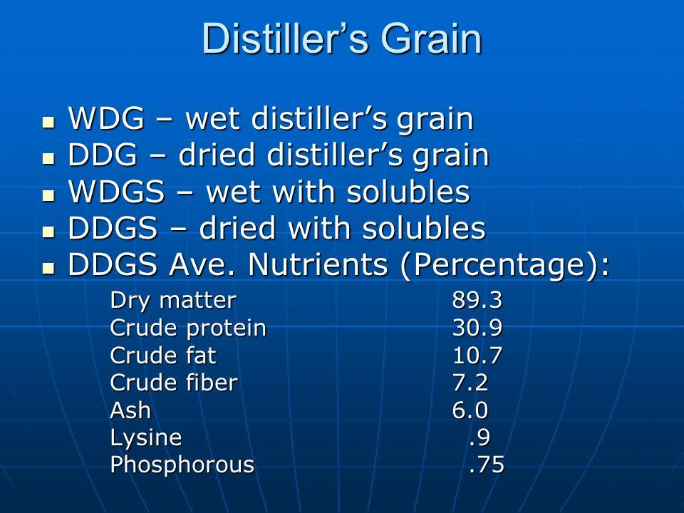 Distillers Grain WDG – wet distillers grain WDG – wet distillers grain DDG – dried distillers grain DDG – dried distillers grain WDGS – wet with solubles WDGS – wet with solubles DDGS – dried with solubles DDGS – dried with solubles DDGS Ave.