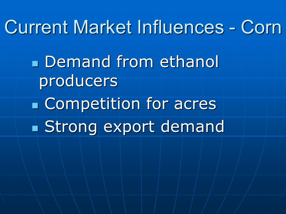 Current Market Influences - Corn Demand from ethanol producers Demand from ethanol producers Competition for acres Competition for acres Strong export