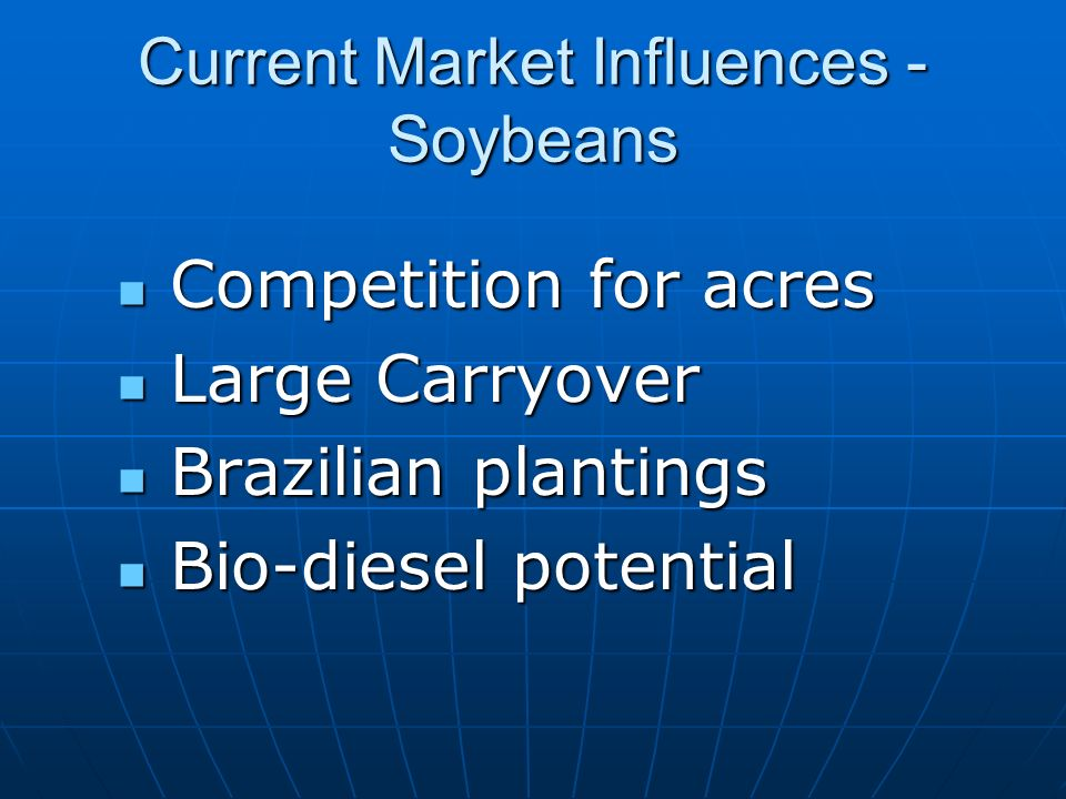 Current Market Influences - Soybeans Competition for acres Competition for acres Large Carryover Large Carryover Brazilian plantings Brazilian plantings Bio-diesel potential Bio-diesel potential