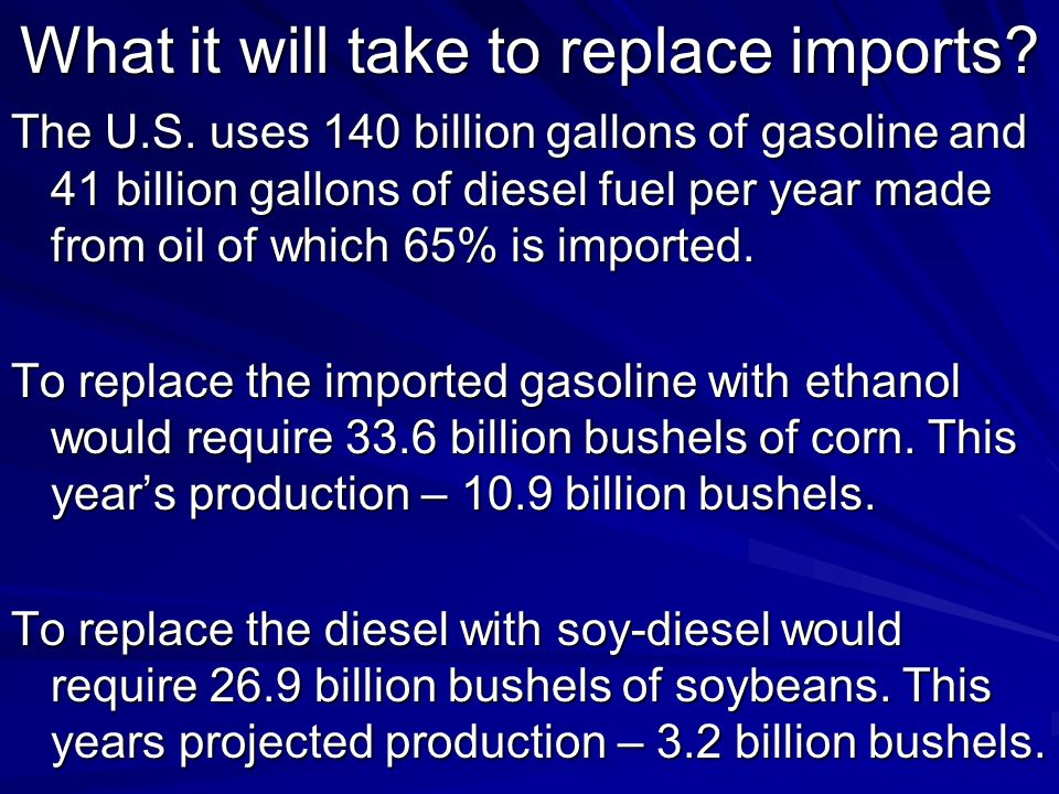 Renewable Fuels Drivers High oil price Instability in oil exporting regions of the world Flow of dollars out of the United States Energy Policy Act of 2005 Mandates and tax reductions Phase out of MTBE Good Returns on Investments