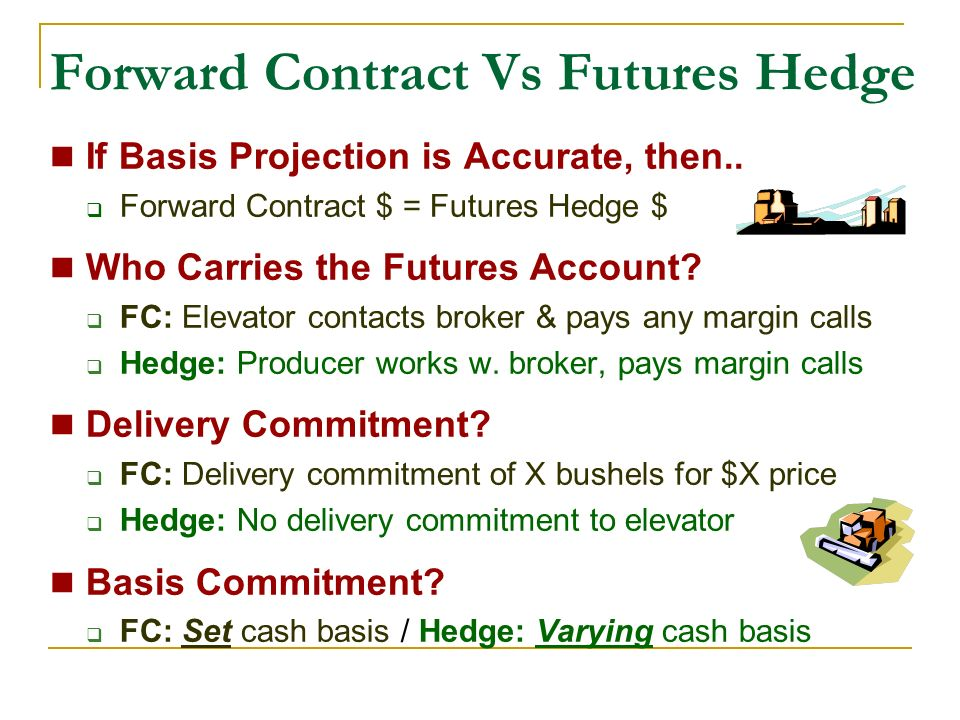 Forward Contract Vs Futures Hedge If Basis Projection is Accurate, then..