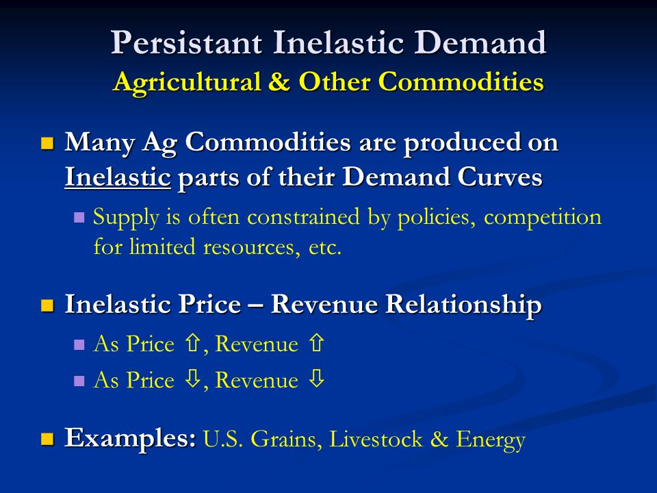 Persistant Inelastic Demand Agricultural & Other Commodities Many Ag Commodities are produced on Inelastic parts of their Demand Curves Many Ag Commodities are produced on Inelastic parts of their Demand Curves Supply is often constrained by policies, competition for limited resources, etc.
