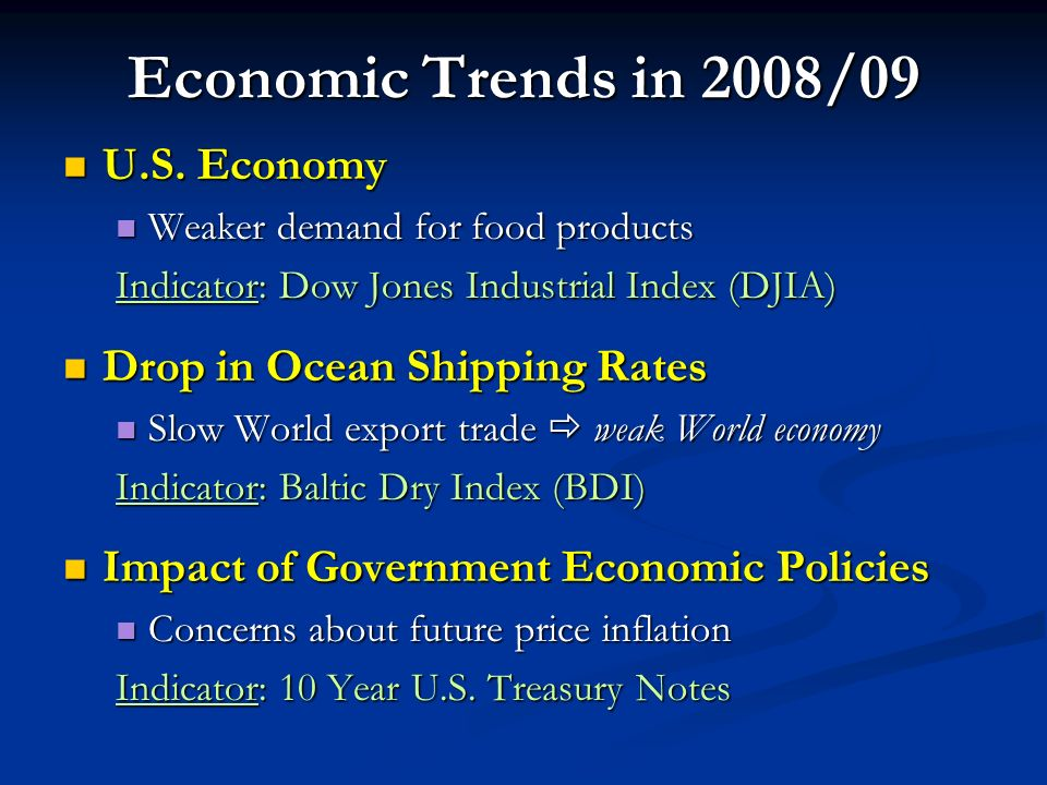 Economic Trends in 2008/09 U.S. Economy U.S.