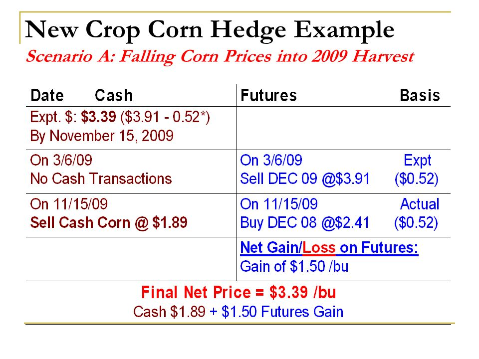 New Crop Corn Hedge Example Scenario A: Falling Corn Prices into 2009 Harvest
