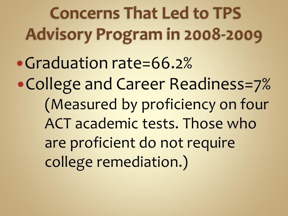 Provide equal access to academic college and career advisement to all Structure to communicate important information about academic standards career planning and postsecondary training Adult who cared about students ability to succeed in school and life, by showing relevance of school and their future