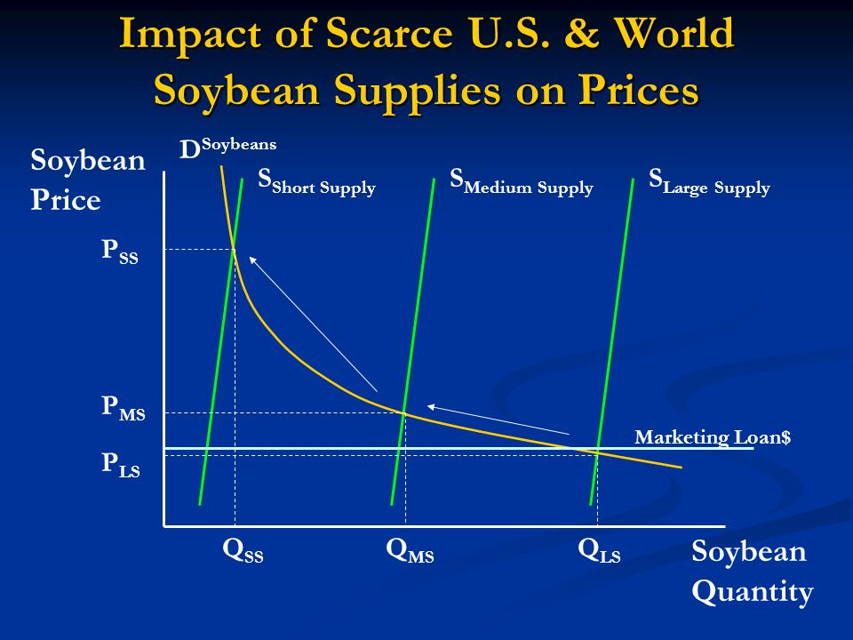 Impact of Scarce U.S. & World Soybean Supplies on Prices Soybean Quantity Soybean Price D Soybeans S Large Supply S Medium Supply S Short Supply Q LS