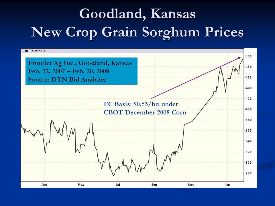 Goodland, Kansas New Crop Grain Sorghum Prices Frontier Ag Inc., Goodland, Kansas Feb.