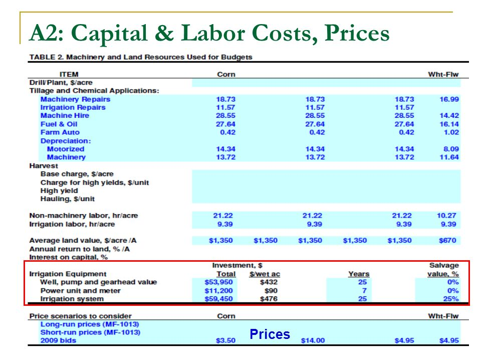 A2: Capital & Labor Costs, Prices Prices