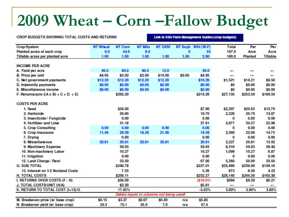 2009 Wheat – Corn –Fallow Budget