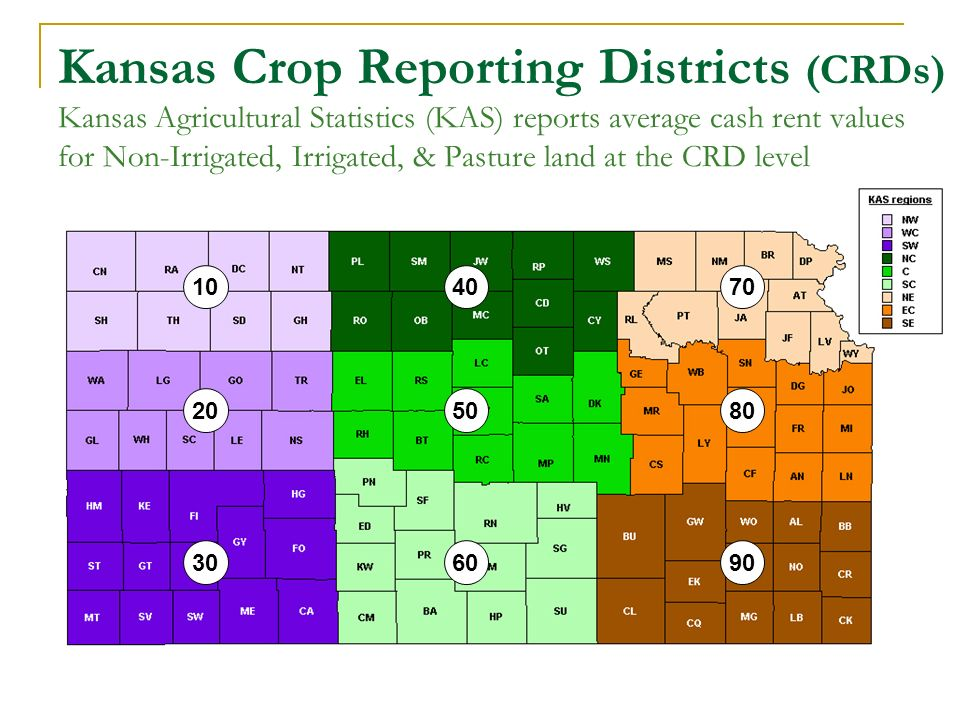 Kansas Crop Reporting Districts (CRDs) Kansas Agricultural Statistics (KAS) reports average cash rent values for Non-Irrigated, Irrigated, & Pasture land at the CRD level 40 50 60 10 30 20 70 80 90