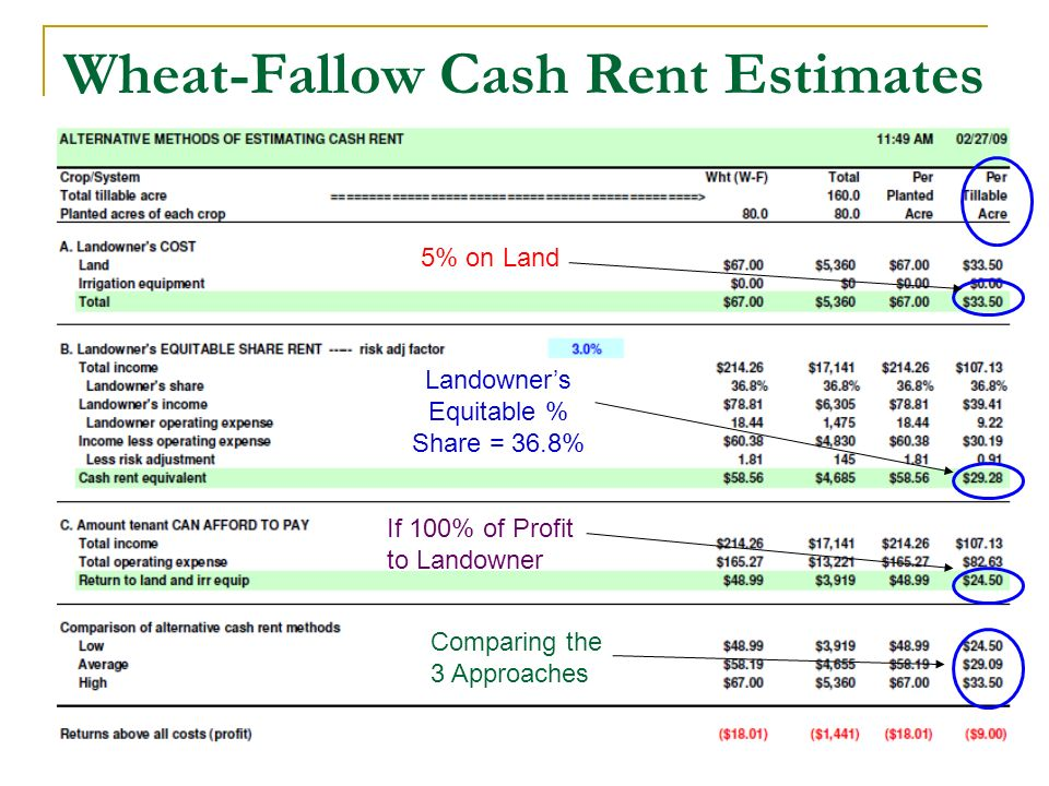 Wheat-Fallow Cash Rent Estimates 5% on Land Landowners Equitable % Share = 36.8% If 100% of Profit to Landowner Comparing the 3 Approaches