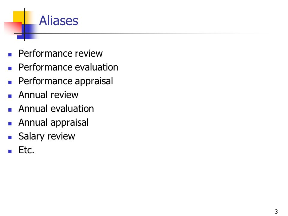 3 Aliases Performance review Performance evaluation Performance appraisal Annual review Annual evaluation Annual appraisal Salary review Etc.