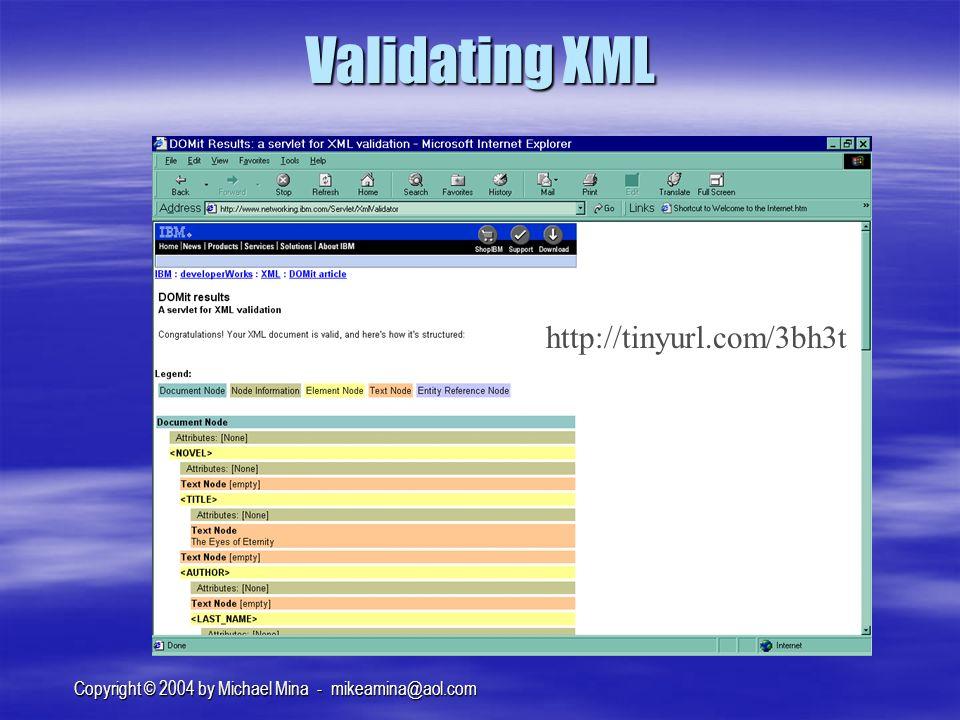 Copyright © 2004 by Michael Mina - mikeamina@aol.com Validating XML http://tinyurl.com/3bh3t