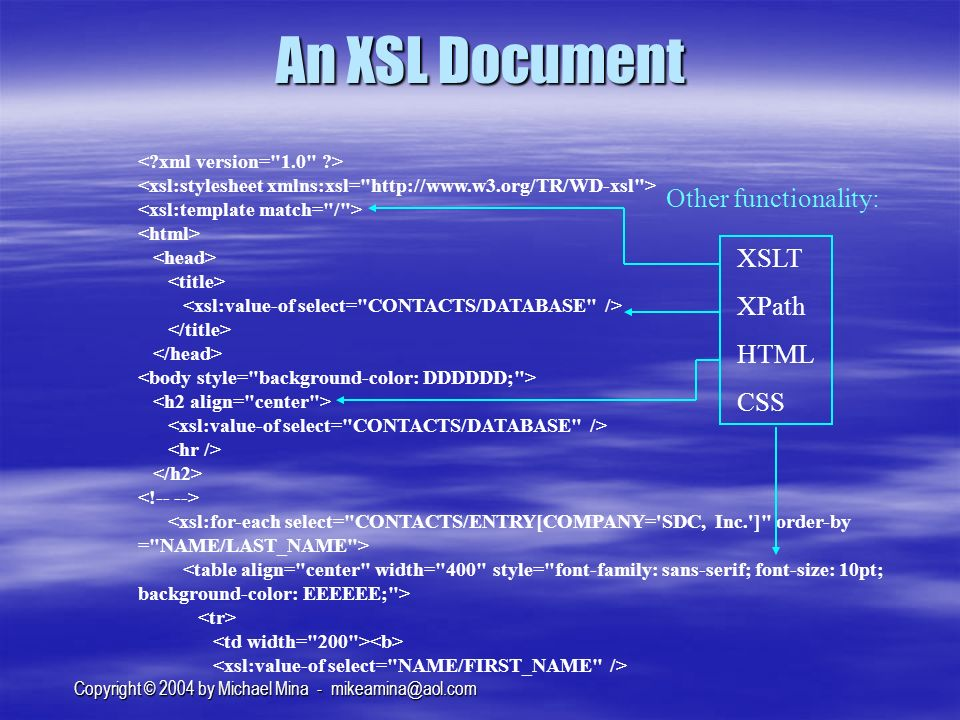 Copyright © 2004 by Michael Mina - An XSL Document XSLT XPath HTML CSS Other functionality:
