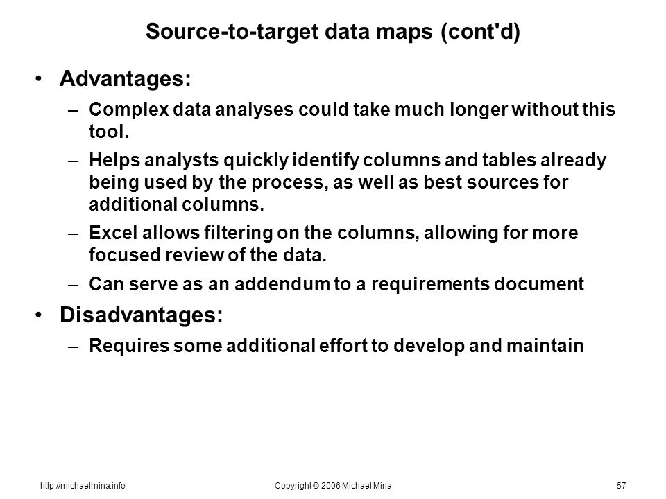 http://michaelmina.infoCopyright © 2006 Michael Mina57 Source-to-target data maps (cont'd) Advantages: –Complex data analyses could take much longer w