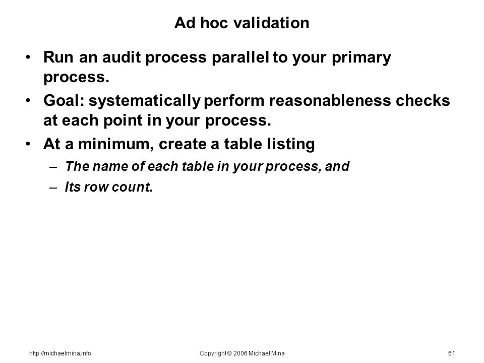 http://michaelmina.infoCopyright © 2006 Michael Mina61 Ad hoc validation Run an audit process parallel to your primary process. Goal: systematically p
