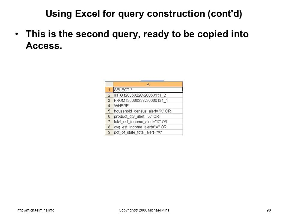 http://michaelmina.infoCopyright © 2006 Michael Mina90 Using Excel for query construction (cont'd) This is the second query, ready to be copied into A