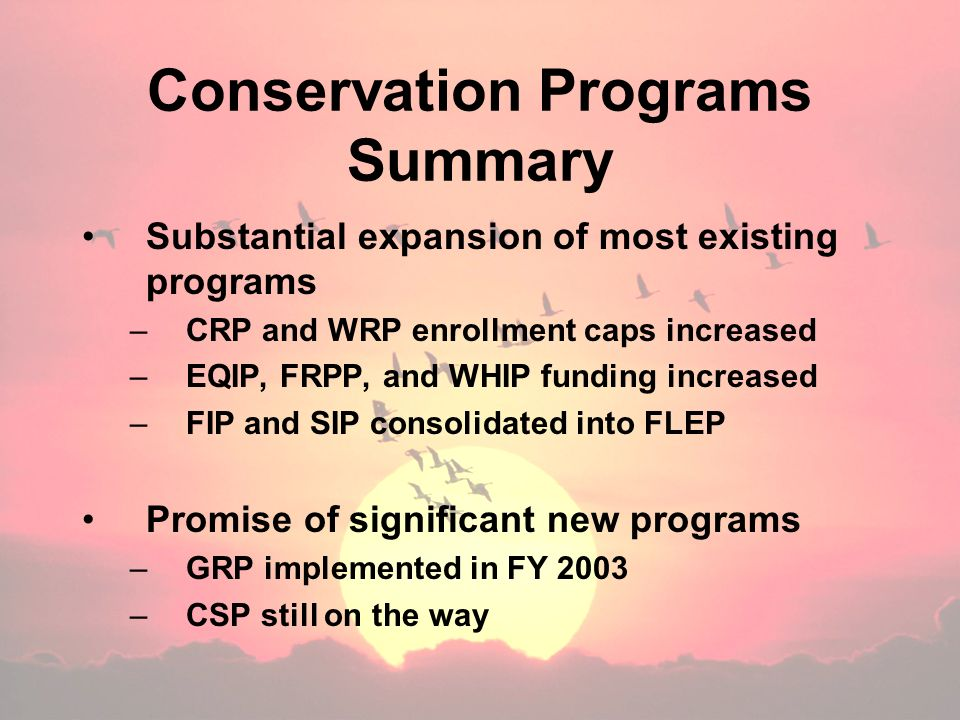 Conservation Programs Summary Substantial expansion of most existing programs –CRP and WRP enrollment caps increased –EQIP, FRPP, and WHIP funding increased –FIP and SIP consolidated into FLEP Promise of significant new programs –GRP implemented in FY 2003 –CSP still on the way