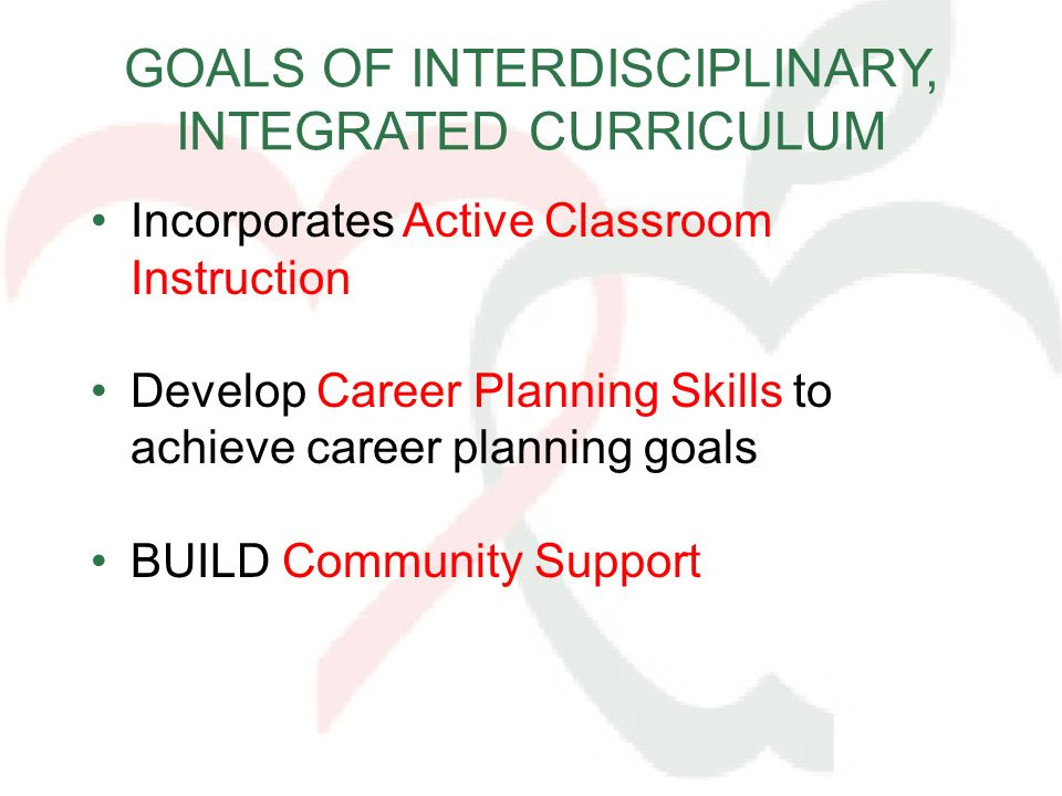 GOALS OF INTERDISCIPLINARY, INTEGRATED CURRICULUM Incorporates Active Classroom Instruction Develop Career Planning Skills to achieve career planning