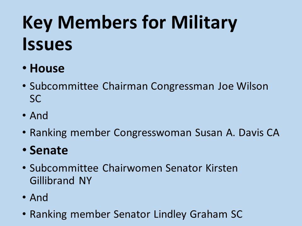 Key Members for Military Issues House Subcommittee Chairman Congressman Joe Wilson SC And Ranking member Congresswoman Susan A. Davis CA Senate Subcom
