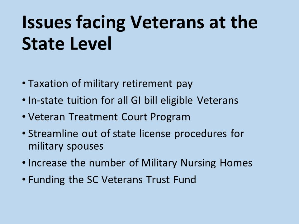 Issues facing Veterans at the State Level Taxation of military retirement pay In-state tuition for all GI bill eligible Veterans Veteran Treatment Court Program Streamline out of state license procedures for military spouses Increase the number of Military Nursing Homes Funding the SC Veterans Trust Fund
