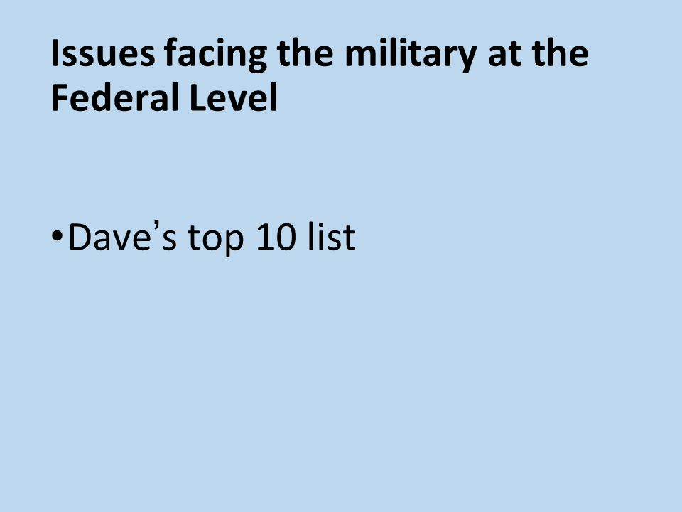 Issues facing the military at the Federal Level Dave s top 10 list