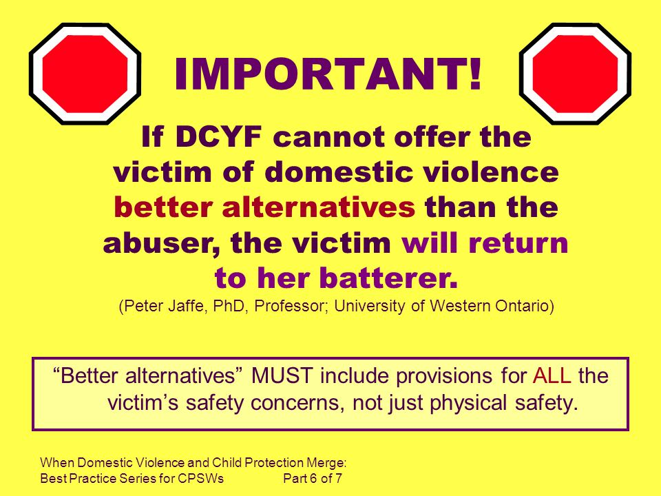 When Domestic Violence and Child Protection Merge: Best Practice Series for CPSWs Part 6 of 7 IMPORTANT! Better alternatives MUST include provisions f