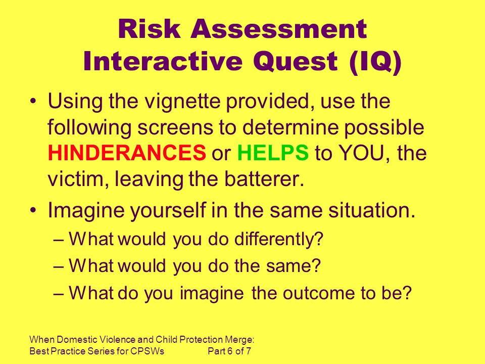 When Domestic Violence and Child Protection Merge: Best Practice Series for CPSWs Part 6 of 7 Risk Assessment Interactive Quest (IQ) Using the vignett