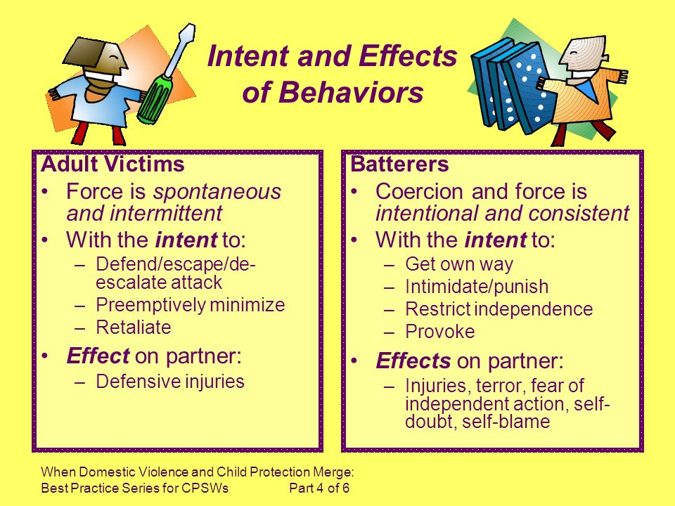 When Domestic Violence and Child Protection Merge: Best Practice Series for CPSWs Part 4 of 6 Adult Victims Force is spontaneous and intermittent With