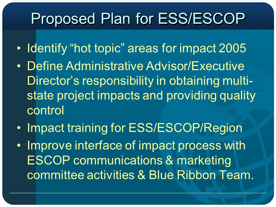 Proposed Plan for ESS/ESCOP Identify hot topic areas for impact 2005 Define Administrative Advisor/Executive Directors responsibility in obtaining multi- state project impacts and providing quality control Impact training for ESS/ESCOP/Region Improve interface of impact process with ESCOP communications & marketing committee activities & Blue Ribbon Team.