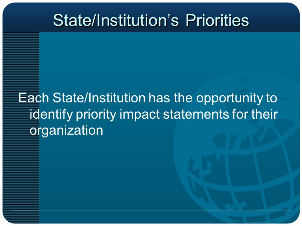 State/Institutions Priorities Each State/Institution has the opportunity to identify priority impact statements for their organization