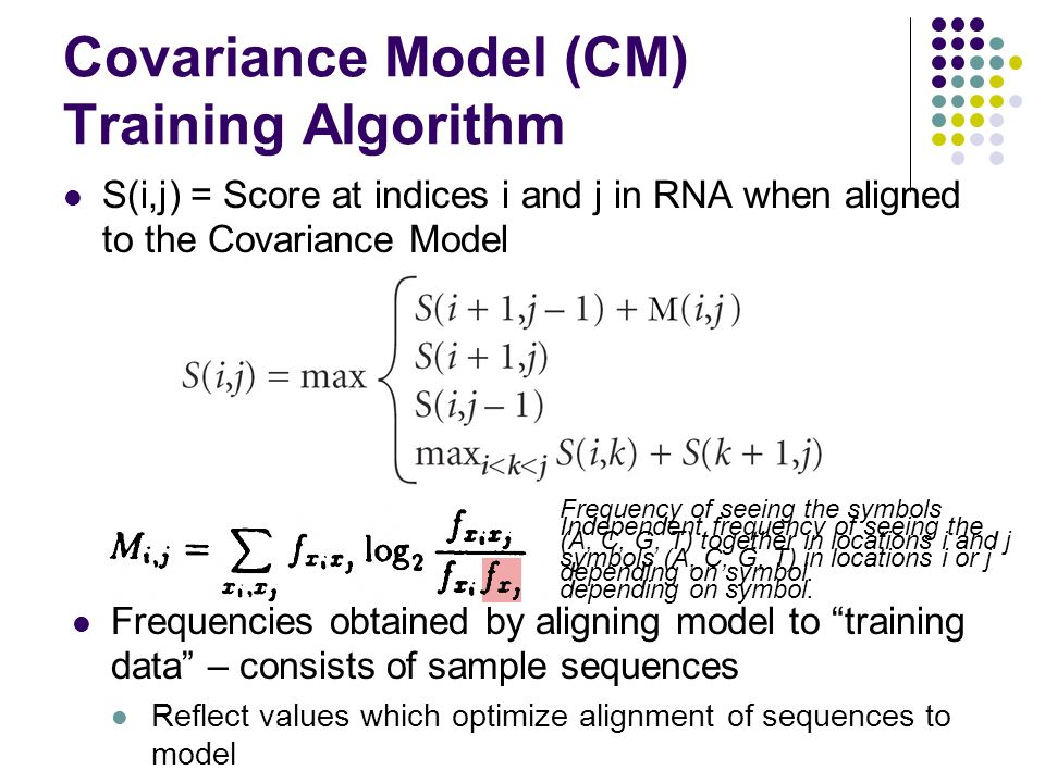 Covariance Model (CM) Training Algorithm S(i,j) = Score at indices i and j in RNA when aligned to the Covariance Model Independent frequency of seeing