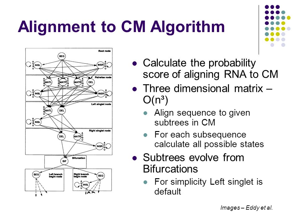 Alignment to CM Algorithm Calculate the probability score of aligning RNA to CM Three dimensional matrix – O(n³) Align sequence to given subtrees in C